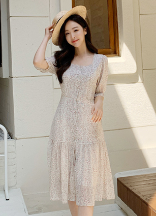 Mabe Square Chiffon One-piece dress <br>