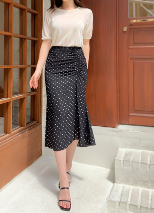 Pol Me Dot Shirring Skirt(S,M) <br>