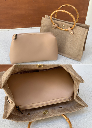 Square Wood Handle Summer Bag <br>