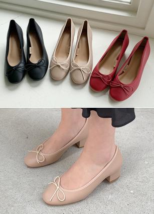 "Ribbon Point Middle Heel Shoes <font color=""#ed1558""><b>[Heel:4cm]</b> <br></font>"